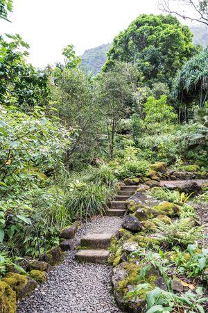 One of the stone walking paths, at the Limahuli Garden and Preserve-National Botanical Garden, Haena, Halelea, Kauai, Hawaii,