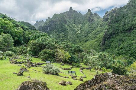 Upper Garden Surrounded By Mountains, At The Limahuli Garden.. Stock ...