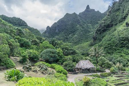 Grass hut, lush mountains, beautiful tropical garden, at the Limahuli Garden and Preserve-National Tropical Botanical Garden, in Haena, Halelea, Kauai