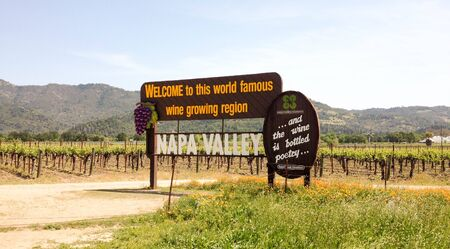 View of the Napa Valley Welcome Sign, vineyards and mountains in the early afternoon, Napa Valley, California
