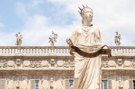 Ancient Statue of Fountain Madonna Verona on Piazza delle Erbe, Italy