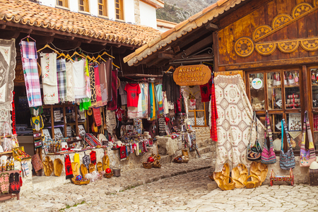 KRUJE, ALBANIA - March 2017: Traditional Ottoman market in Kruje, Albania. Flea market in Albania.  Antique items and souvenirs for sale. Editorial