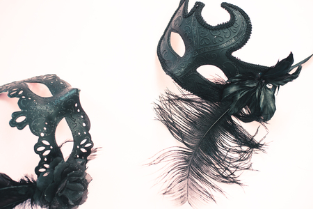 Ornate carnival mask light background