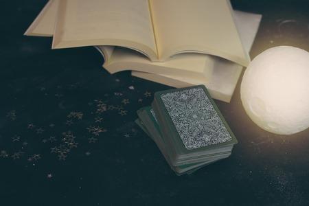Tarot cards on fortune teller desk table. Future reading. 写真素材 - 118704408