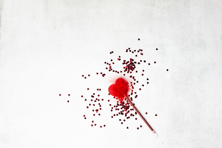 red heart shape ball pen on white background. Wedding, romantic and Valentine day concept