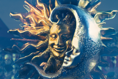 Venetian Carnival Mask of Golden Sun and Silver Moon Stockfoto
