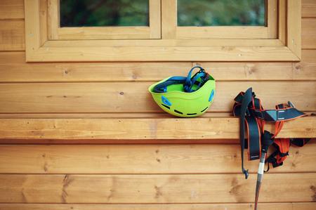 Climbing gear equipment - helmet harness zip line safety equipment.