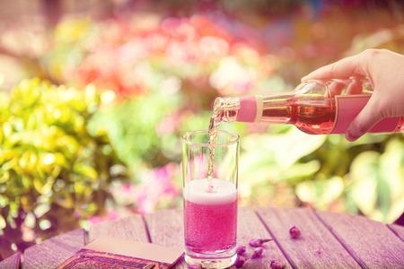 Summer refreshment drinks. Light pink rose cocktail