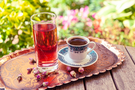a cup of Turkish coffee and rose water