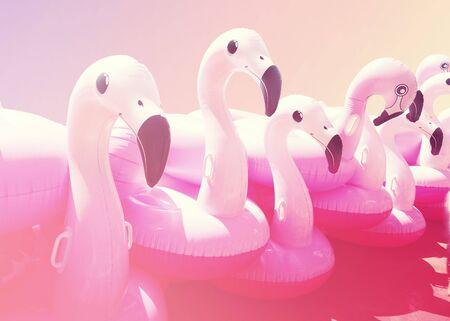 Pink trendy blown beach flamingo. Hit the summer