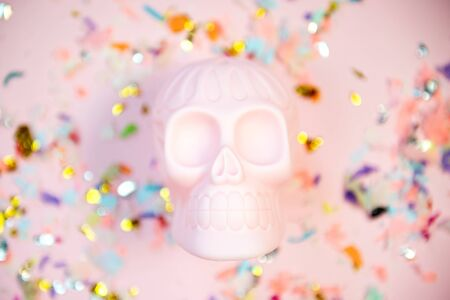 Halloween human pink skull on pastel background with free space for text. Stock Photo