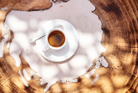 top view a cup of espresso coffee on wooden table background Stok Fotoğraf - 129254957