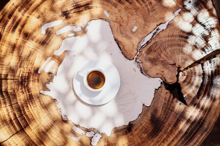 top view a cup of espresso coffee on wooden table background Stok Fotoğraf