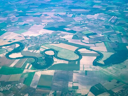 Bird Eye View of the Fields and Agricultural Parcel. Aerial Views.
