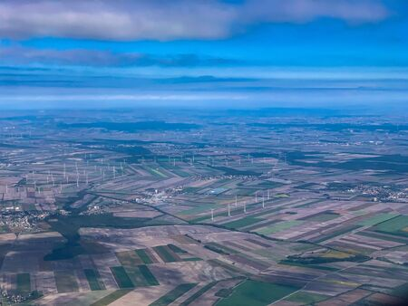 Aerial view over the windmills close to Vienna