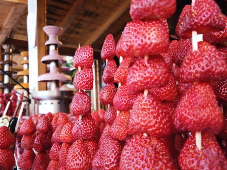 Close up skewers strawberries shashlik