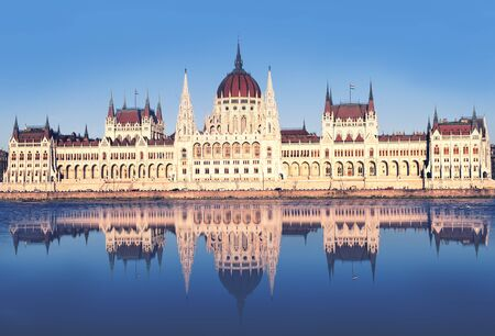 View of hungarian Parliament building, Budapest, Hungary