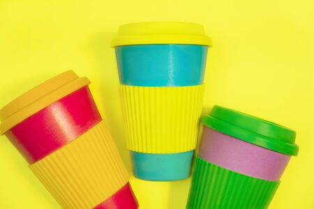 Zero waste concept. Stylish reusable eco coffee cup Natural bamboo cup