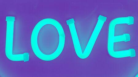 Neon Love sign word text duotone Stok Fotoğraf