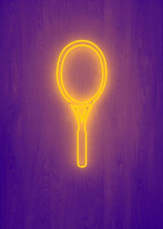 sport, fitness, sports equipment concept - close up of tennis racket neon light
