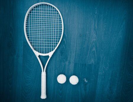 tennis racket and balls top view Stok Fotoğraf