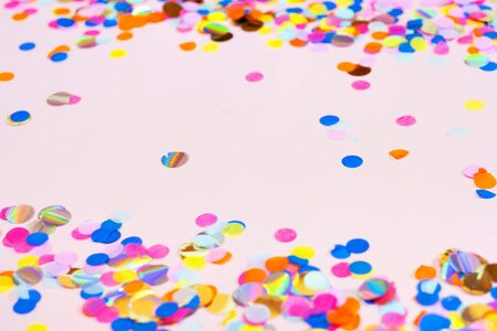 Colorful celebration confetti background pastel colors with copy space Stock Photo