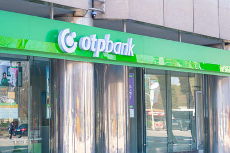 OTP Bank logo on its central administration building in Tirana, Albania