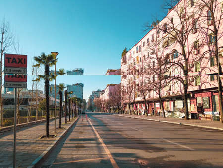 empty boulevard in Tirana, Albania due to coronavirus pandemic outbreak