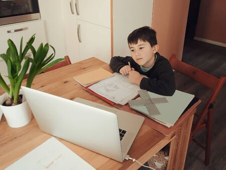 young Caucasian boy following class work online on a laptop computer