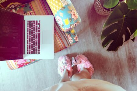 Home workspace: girl in home flamingo fluffy slippers working on her laptop in colourful armchair