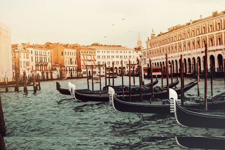 anchored Gondolas on the Canal Grande, Venice Italy