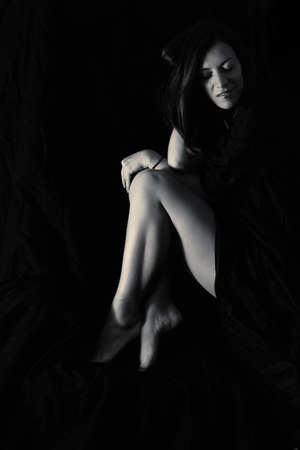 Sensual black and white woman portrait