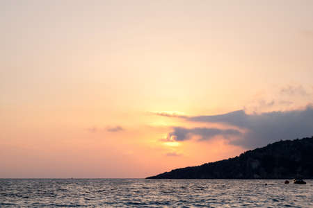 Scenic sunset Albania Ionian sea