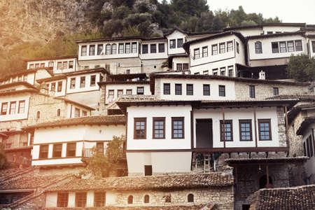Old town Berat, windows. Albania