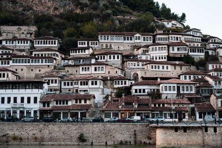 Old town Berat, windows. Albania, World Heritage Site by UNESCO