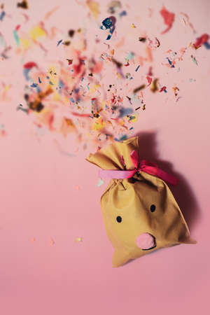 Small handmade gift bag deer 免版税图像