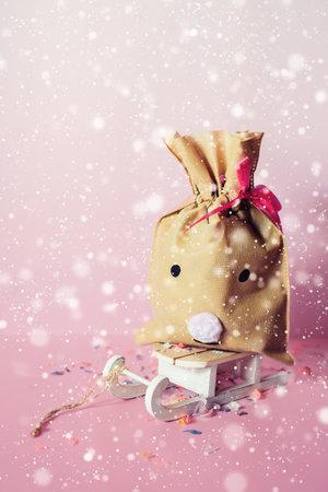 Small handmade gift bag deer Banco de Imagens
