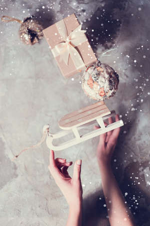 Christmas and New Year presents creative composition 免版税图像