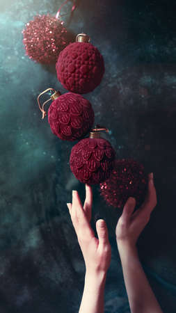 Christmas and New Year baubles creative composition
