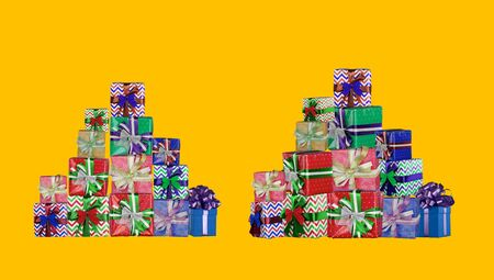 Colorful gifts background for christmas or valentines day, birthday 版權商用圖片