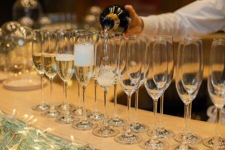 Champagne glasses for Christmas or new year parties. 版權商用圖片