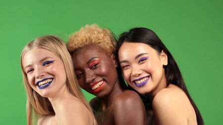 Beautiful Girls White European,Asian and Black African American Beautiful Sexy young womens with Natural Healthy Skin Smiling