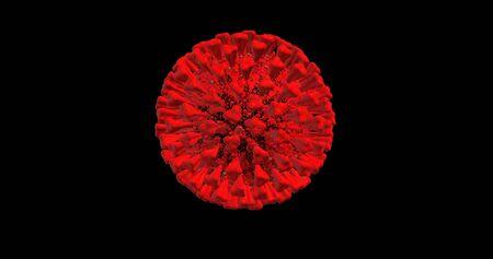 Coronavirus 2019-nCoV Wuhan Realistic 3D Animation. SARS-CoV-2, known as 2019-nCoV, COVID-19 on a black background 版權商用圖片