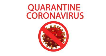 Coronavirus words quarantine coronavirus. Coronavirus quarantine text on a white background with a crossed out coronavirus. Coronavirus concept top view. Stop coronavirus