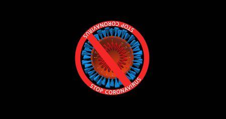 Stop coronavirus a crossed circle with a bullet of the virus, Novel coronavirus 2019-nCoV 版權商用圖片