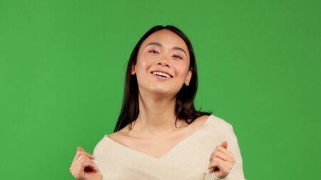 Beautiful woman smiling show pleasure, beauty concept of asian women, emotions of women
