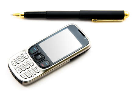 personal digital assistant: Cellular telephone and the handle on a white background