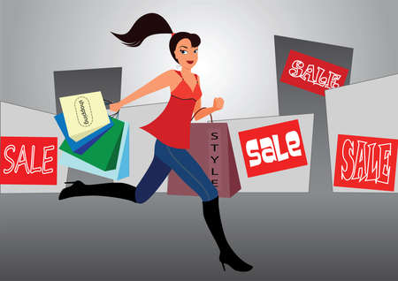 The girl with bags hastens on sale in shops Stock Vector - 9106909