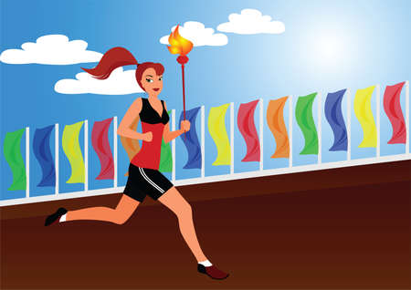 The sportswoman bears the Olympic fire along flags Vector