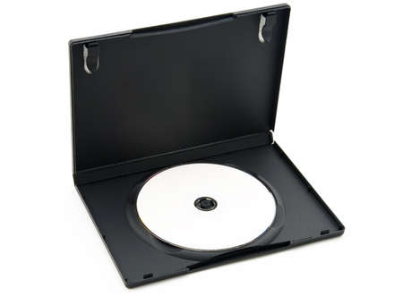 cd r: A dvd disc housed in its plastic container.